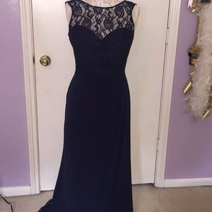 Alfred Angelo navy bridesmaids gown